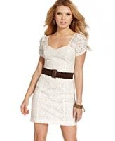 GUESS? Dress, Short Sleeve Belted Lace Sweetheart