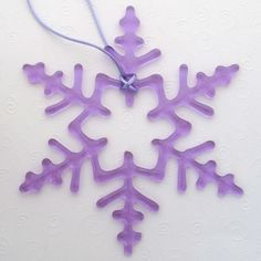 Fused Glass Snowflake Ornament Suncatcher - Lavender - One Of A Kind - Large. $38.00, via Etsy.