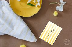 Free Printable place cards for Easter Brunch - stripes (no names on the printable, but it looks awesome with the modern calligraphy!)