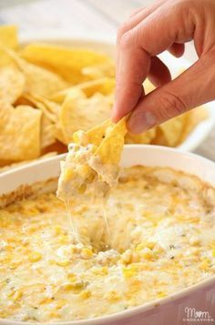 Cheesy Hot Corn Dip - delicious for parties and tailgates.