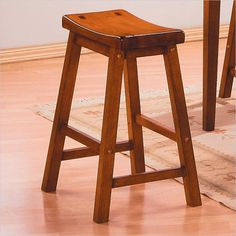 "Saddleback 29"" Bar Stool in Oak (Set of 2)  by  Homelegance"