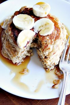 Oatmeal Peanut Butter and Banana Pancakes - Heather's French Press
