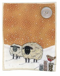 Sharon Blackman sheep in snow Freehand Machine Embroidery, Free Motion Embroidery, Free Machine Embroidery, Mini Quilts, Small Quilts, Fabric Cards, Fabric Postcards, Sewing Art, Sewing Crafts