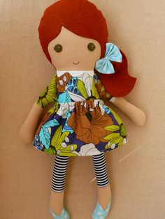 Fabric Doll Rag Doll Red Haired Girl in Bright Blue by rovingovine