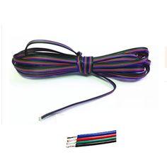 1m 2m 3m 4m 5m 10m 20m 50m 100m 4 Pin Channels cable for 5050 3528 RGB LED Strip Light  Module Extension Wire Cord
