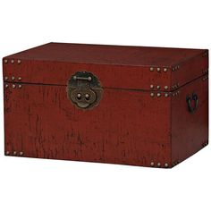Traveler Antique Red Finish Trunk ($323) ❤ liked on Polyvore