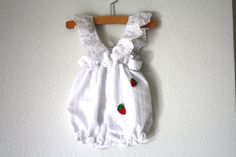 Strawberry Romper Baby Toddler Girl Size 12 by 1SweetDreamVintage, $10.00