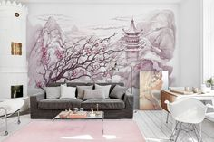 Japanese Mountains (from PIXERS): Romantic wall mural combined with poster of a girl #wallmurals #posters #prints