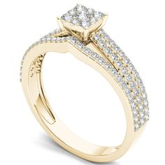 De Couer 10k Gold 5/8ct TDW Diamond Ring (H-I, I2) (Yellow Gold Size-6), Women's, Size: 6
