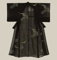 A sheer silk hitoe summer kimono with motifs of duck-hawks and what looks to be galaxies.Early Showa period (1927-1940).The Kimono Gallery.