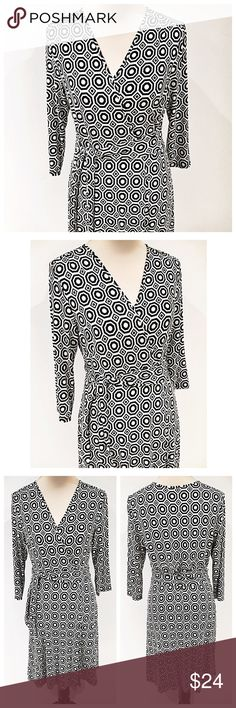 • CYNTHIA ROWLEY • This geometric faux wrap dress is perfect for work!! The knit is so comfy but its also substantial, so it hangs beautifully and doesn't wrinkle Cynthia Rowley Dresses