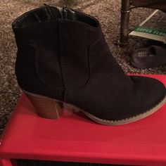 Black suede  booties Black suede booties slightly worn Old Navy Shoes Ankle Boots & Booties