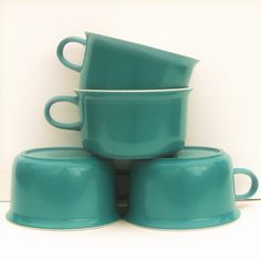 Vintage Melamine Cups Set of 4 by Allied Chemicals, Aqua and White Two Tone. $8.00, via Etsy.