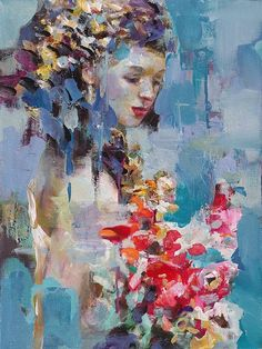 GIRL WITH FLOWERS Original Oil Painting by Dima K. 24x18 Stretched Canvas. Bride Portrait Abstract Modern Impressionism Home Decor Wall Art Gift Idea
