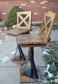 Love these Industrial Kid Chairs made from car jacks and old barn wood.