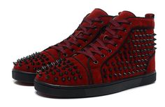 Christian Louboutin Louis Black Spikes Mens High Top Denim Sneakers Wine Red