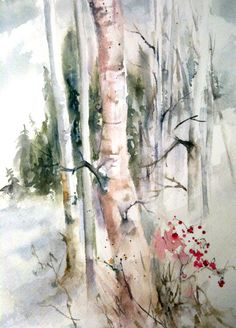 A watercolor of birch woods early winter by DHammond---Mellow color sheme  great for apartments lofts studio art