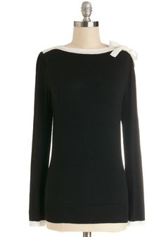 Cute on Cue Sweater in Black and White | Mod Retro Vintage Sweaters | ModCloth.com