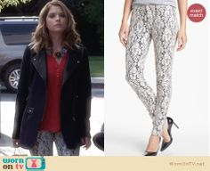 Hanna's lace jeans on Pretty Little Liars. Outfit Details: http://wornontv.net/27037 #PLL #fashion