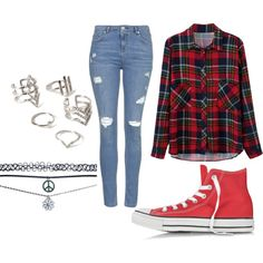 A fashion look from February 2015 featuring Topshop jeans, Converse sneakers and Wet Seal necklaces. Browse and shop related looks.
