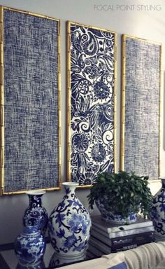 DIY Wall Art Ideas and Do It Yourself Wall Decor for Living Room, Bedroom, Bathroom, Teen Rooms   DIY Indigo Wall Art With Framed Fabric   Cheap Ideas for Those On A Budget. Paint Awesome Hanging Pictures With These Easy Step By Step Tutorials and Projects   http://diyjoy.com/diy-wall-art-decor-ideas https://www.djpeter.co.za