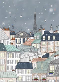 Affiche Paris, Tour Eiffel, Déco thème Paris, Illustration d'Amélie Biggs: