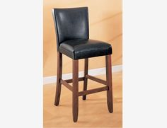 "2 PC 29"" Black Bar Stools Chairs Leather Seat Back Coaster 100387"