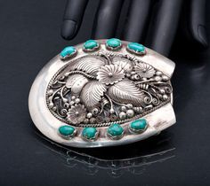 Vintage Signed Navajo Sterling Silver and Turquoise Horseshoe Belt Buckle