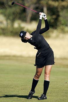 Paula Creamer at 2006 Ladies British Open at Royal Lytham, sporting sassy black and white knee high golf socks...