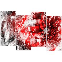 Red Essence Floral Canvas Wall Art Print