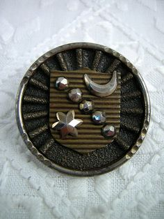Steel Antique Heraldic BUTTON: Victorian Brass by Buttongal