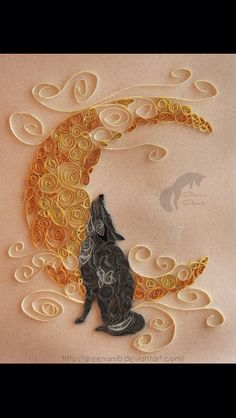 Gorgeous quilled wolf - My mother used to do quilling when I was younger. This…