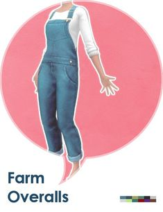 """lehgaming: """" Some overalls for farmer ladies: ◦ Teen to elder female. ◦ 6 colors. ◦ Outfit/overalls category. ◦ Basegame compatible. ◦ Random enabled. ◦ Get the PSD here for recolors. Download @ MediaFire Download @ SimFileShare """""""
