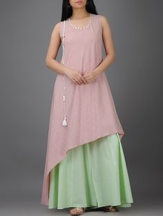 Buy Pink Asymmetrical Cotton Kurta with Tassels Mother of Pearl Buttons Women Kurtas Pastel Elegance dresses and more Online at Jaypore.com