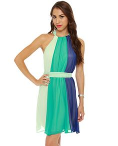 The Stripe Aquatic Blue Halter Dress