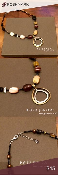 """Silpada Silver & Bronze Necklace N1787 Gorgeous Sterling silver, Bronze, Shell, Horn, Seed Bead & Black Pen Shell Necklace with Lobster clasp. 18"""" long with 2"""" extender. Retail $99 Silpada Jewelry Necklaces"""