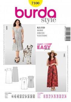 Patron de couture Burda 7100 robe, très facile, tailles 44 - 60: Amazon.fr: Cuisine & Maison