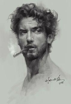 Dijital Sanat: Etkileyici Dijital Portre Ve Tablolar – … - Hard Tutorial and Ideas Portrait Au Crayon, L'art Du Portrait, Portrait Sketches, Pencil Portrait, Drawing Portraits, Guy Drawing, Drawing Faces, Painting & Drawing, Art Drawings