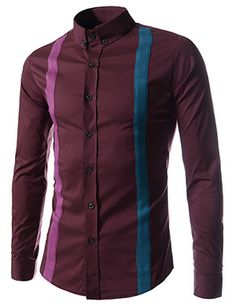 70% OFF Limited Quantity (CE80-WINE) Slim Fit Suspenders Decoration Stretchy Long Sleeve Shirts