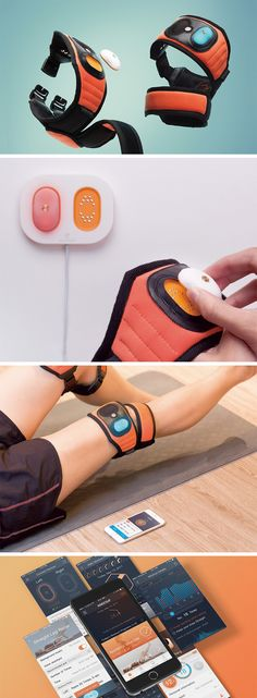 Providing rehabilitation to the kneecap, the Kneesup goes the extra mile by also coming with a health tracker in it. The lightweight device comes made of fabric, filled with air inside, not only cushioning the knee area but also making sure it doesn't add any extra weight to the joint. Its ambidextrous nature allows it to be used on either leg with equal comfort and ease. Wearable Device, Wearable Technology, Arduino, Design Innovation, Future Gadgets, Medical Design, Cool Inventions, Consumer Products, Tech Gadgets