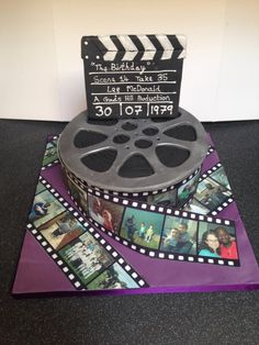 Memories in cake - Cake by Enchanting Cupcakes by Rebecca Music Birthday Cakes, Anniversary Cake Designs, Hollywood Cake, Film Cake, Movie Cakes, 21st Cake, Beautiful Birthday Cakes, Cake Stencil, Cake & Co