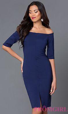 Knee Length Off the Shoulder Dress JD6001 at PromGirl.com