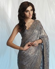 Georgette brasso saree with cut-work border | Flickr - Photo Sharing!