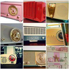 "Old Radios: 1) Standard Electric ""Virtuose"" radio model 1050-4, 1950s, 2) Crosley F-5 Radio. 1954, 3) Phico F817 Radio. 1958, 4) Arvin Twin Speaker Radio, 5) tabletop, 6) Vintage Bush Radio, 7) tuesday, tuesday, 8) radio love, 9) some favorite things."
