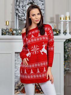 Dámsky oversize predĺžený vianočný sveter SV2018CE Christmas Sweaters, Vogue, Fashion, Moda, Fashion Styles, Christmas Jumper Dress, Fashion Illustrations, Tacky Sweater, En Vogue