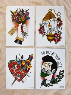 Image of Set of 4 The Smiths prints Traditional Tattoo Old School, Traditional Tattoo Design, Traditional Tattoo Flash, Neo Traditional, American Traditional, Finger Tattoos, Leg Tattoos, Body Art Tattoos, Sleeve Tattoos