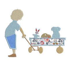 Enfant et son chariot en appliqué Liberty Of London, Kids Rugs, Etsy, Appliques, Couture, Sewing, Decor, Small Boy, Rat Dog