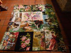 TAPIS CANEVAS RECUP ROMANTIQUE VINTAGE : Textiles et tapis par chiffonsboutique