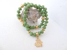 Set of Two Bracelets,Allah Bracelet,Green Crystal Beads Bracelet,Arabic Girls Jewelry,Elegance,Charm Bracelet,Gifts for Her by sevinchjewelry on Etsy