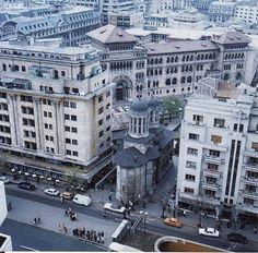 Biserica Enei și blocul Dunărea. | parte din Bucureștiul dispărut. | B-dul Nicolae Bălcescu, în dreptul Universității de Arhitectură.